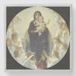 Regina Angelorum Mary with Angels Stone Coaster
