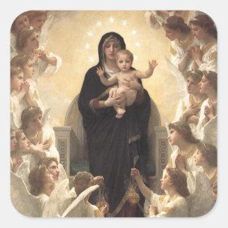 Regina Angelorum por Bouguereau, ángeles del Calcomanías Cuadradass