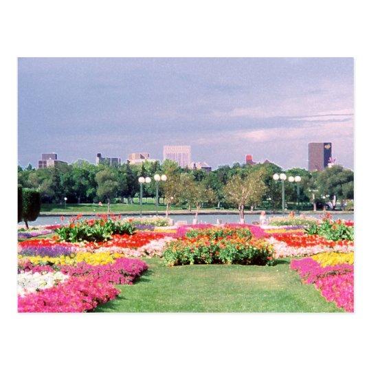 regina - legislative gardens painted postcard