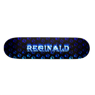 Reginald skateboard blue fire and flames design.
