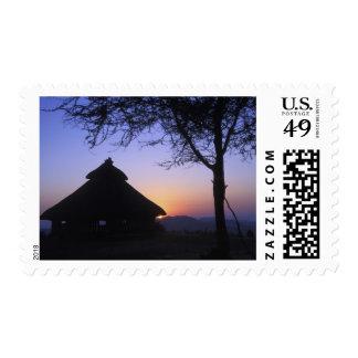 Región de África, Etiopía, río de Omo, puesta del Timbres Postales