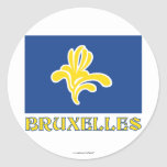 Región de bandera de Bruselas con el nombre (franc Pegatina