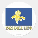 Región de bandera de Bruselas con el nombre Pegatina Redonda