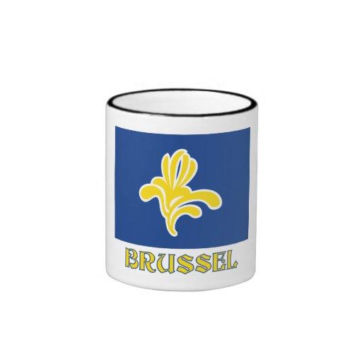 Región de bandera de Bruselas con el nombre Taza A Dos Colores