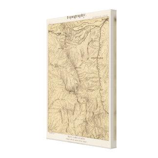 Región del paso de TruckeeDonner de la topografía, Impresión De Lienzo