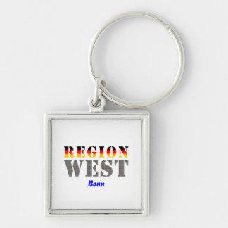 Región occidental Bonn Llavero Cuadrado Plateado