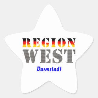 Región occidental Darmstadt Pegatina En Forma De Estrella