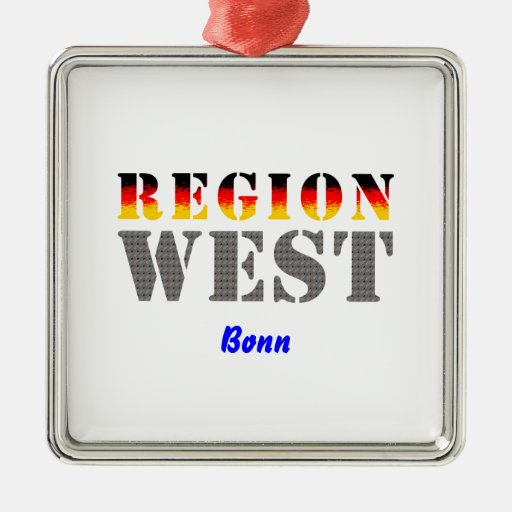 Region West - Bonn Square Metal Christmas Ornament