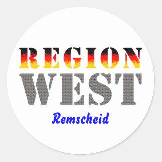 Region west - rem-separate round sticker