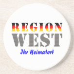 Region west - your place of residence beverage coasters