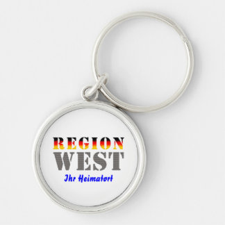 Region west - your place of residence Silver-Colored round keychain