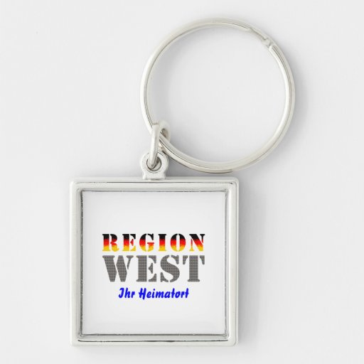 Region west - your place of residence Silver-Colored square keychain