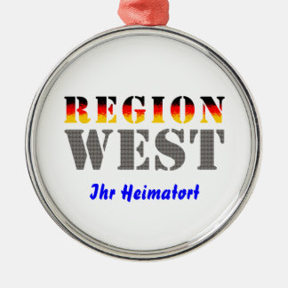 Region west - your place of residence metal ornament