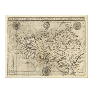 Regional Map Brittany and Armorica France (1594) Canvas Print