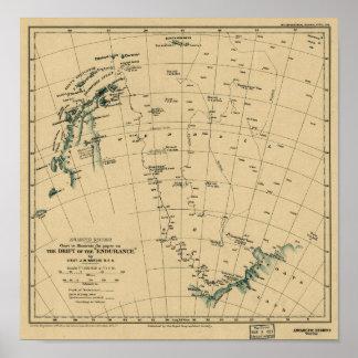 """Regiones antárticas """"deriva del mapa de la póster"""