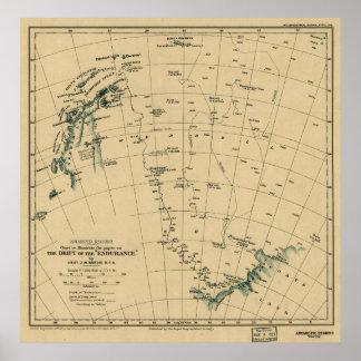 Regiones antárticas deriva del mapa de la resiste poster