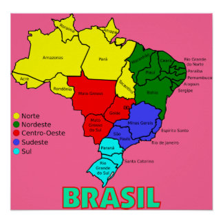Regiones de ` del mapa del Brasil Póster