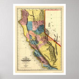 Regiones del oro de mapa de California por Gibbes  Póster