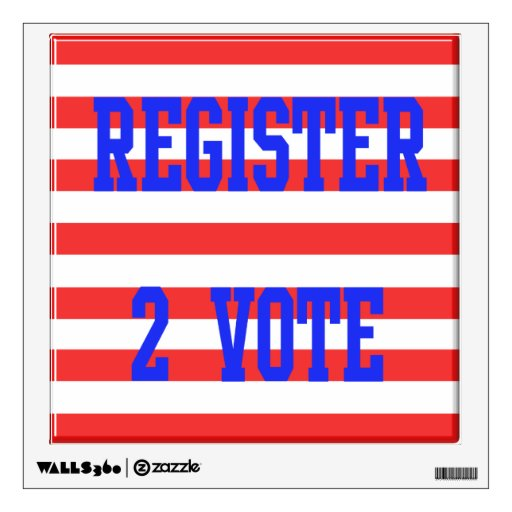 Register 2 Vote Blue, Red & White Stripes Wall Stickers