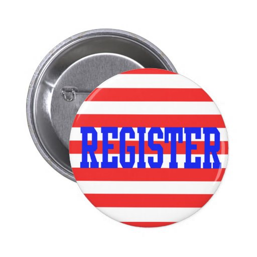 Register in Blue, Red & White Stripes 2 Inch Round Button