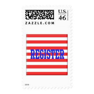 Register in Blue Red White Stripes Postage Stamp
