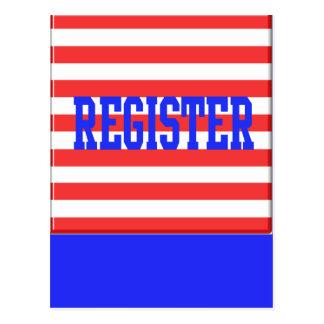 Register in Blue, Red & White Stripes Postcard