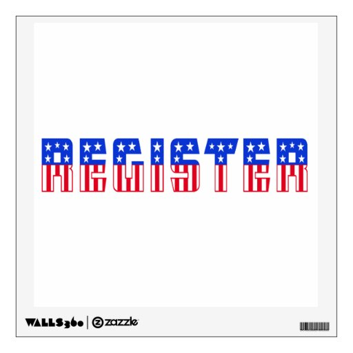 Register Red, White & Blue Stars & Stripes Text Wall Skin
