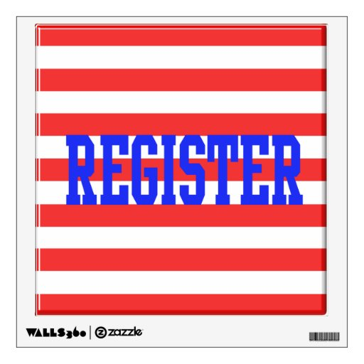 Register Red & White Stripes Blue Text Wall Graphic