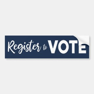 Register to Vote – bold white text on navy blue Bumper Sticker