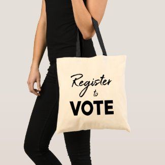 Register to Vote – modern black typography 2-sided Tote Bag