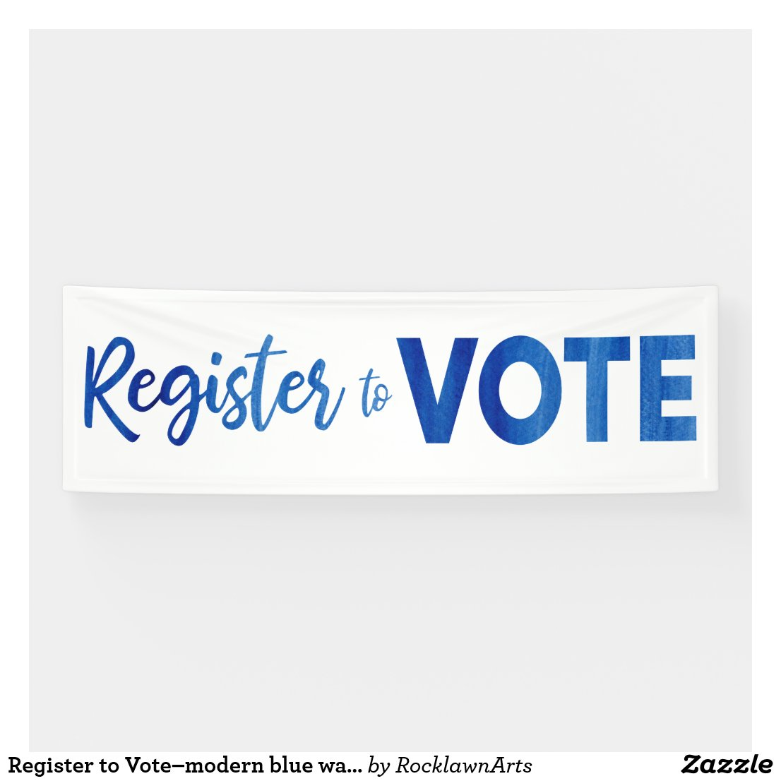 Register to Vote–modern blue watercolor typography Banner