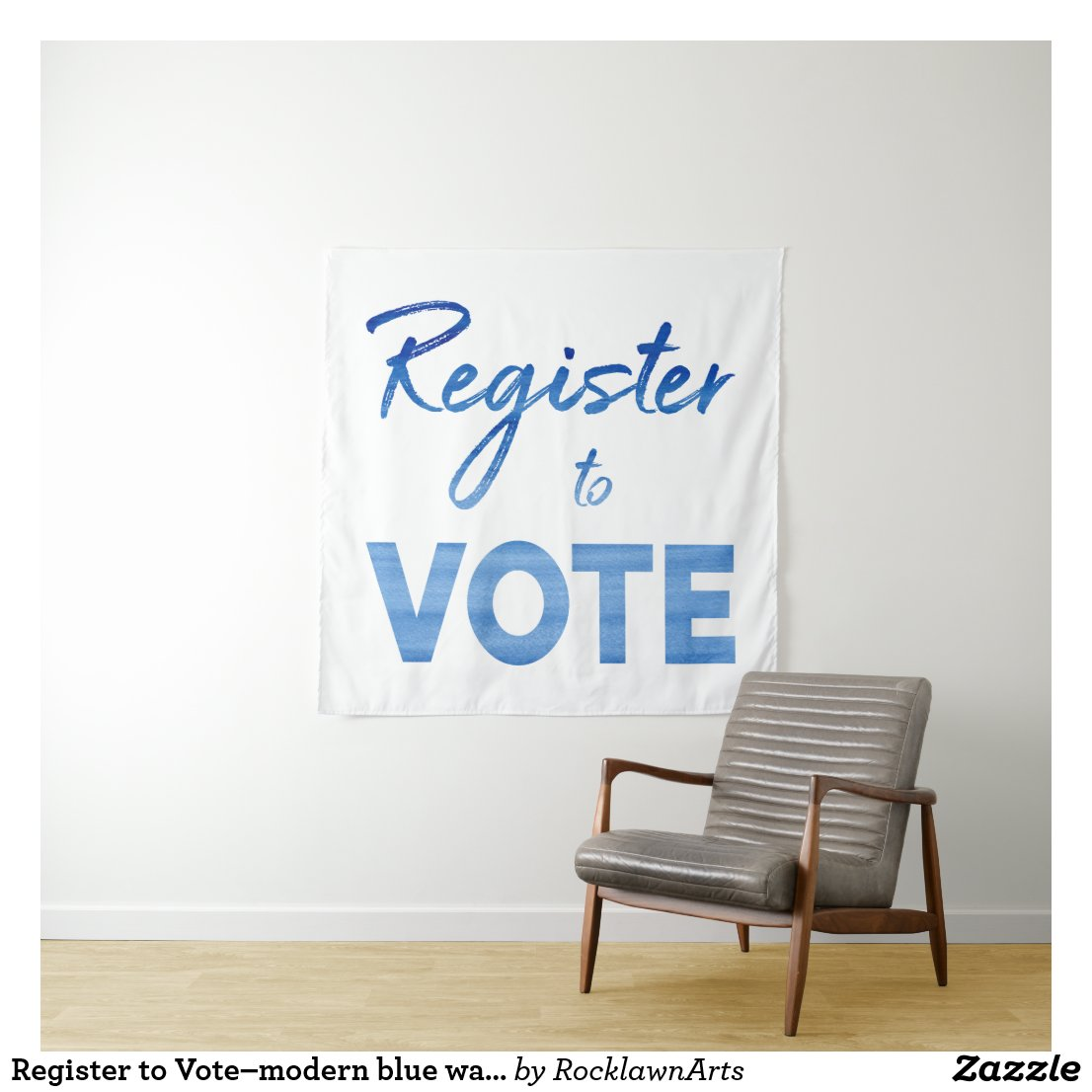 Register to Vote–modern blue watercolor typography Tapestry