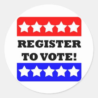 Register to vote classic round sticker