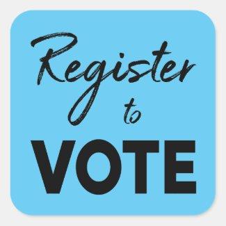 Register to Vote, stylish black typography on blue Square Sticker