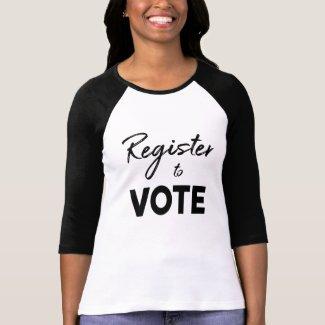 Register to Vote, stylish black typography T-Shirt