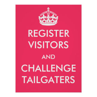 Register Visitors and Challenge Tailgaters Poster