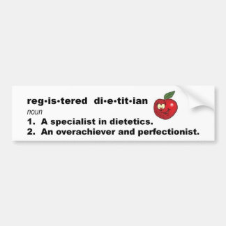 Registered Dietitian Definition Car Bumper Sticker
