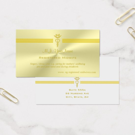 Registered Midwife with golden caduceus logo Business Card