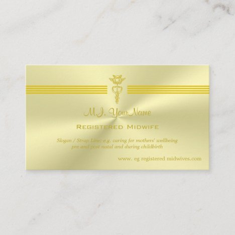 Registered Midwife with golden caduceus logo Enclosure Card