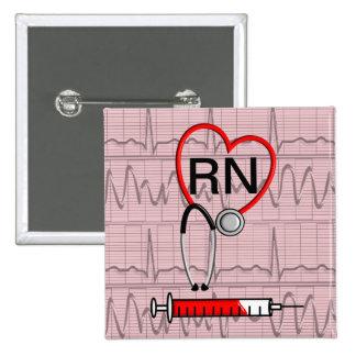 Registered Nurse Button Red Stethoscope