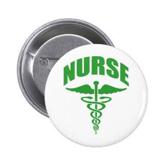 Registered Nurse Caduceus Green Button