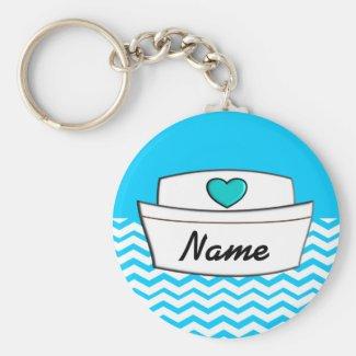 Registered Nurse Chevron Design Personalized Keychains
