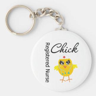 Registered Nurse Chick v1 Basic Round Button Keychain