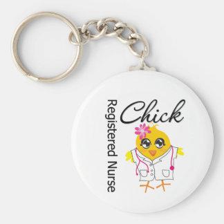Registered Nurse Chick v2 Basic Round Button Keychain
