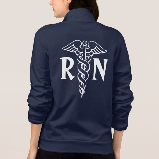Registered Nurse Fleece Jacket Rn With Caduceus Zazzle