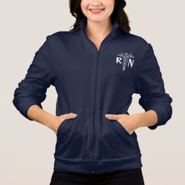 logotees Registered nurse fleece jacket | RN with caduceus