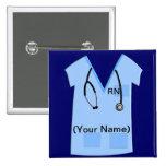 Registered Nurse Name Badge Button Bue