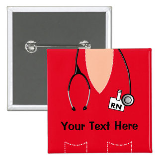 Registered Nurse Name Badge Button RED