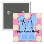 Registered Nurse Name Badge Pinback Buttons
