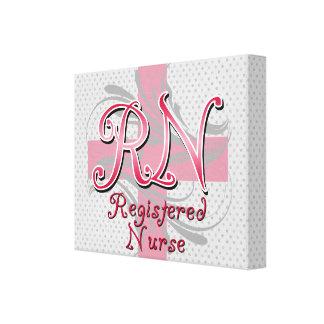 Registered Nurse, Pink Cross Swirls Canvas Print